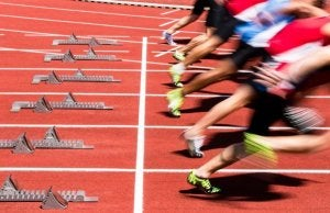 Track and field runners in a competition.