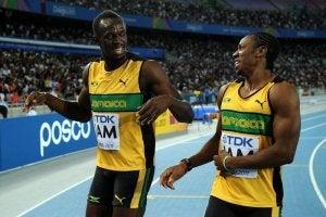 Yohan Blake and Usain Bold at the Olympics.