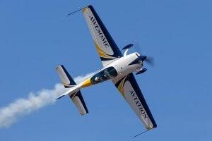 An acrobatic flight plane.