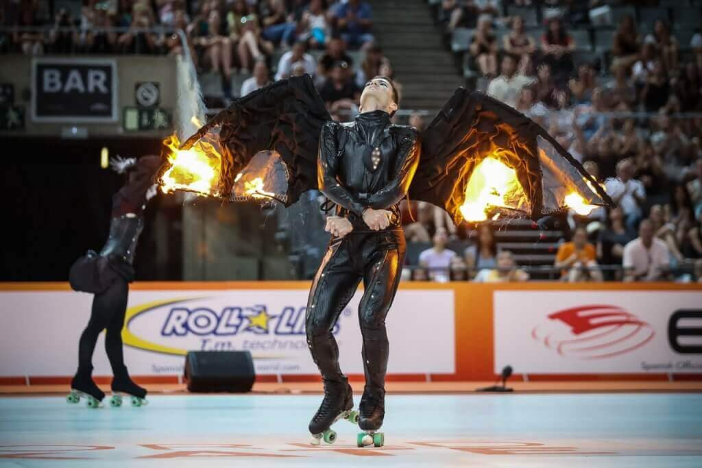 The sport of artistic roller skating.