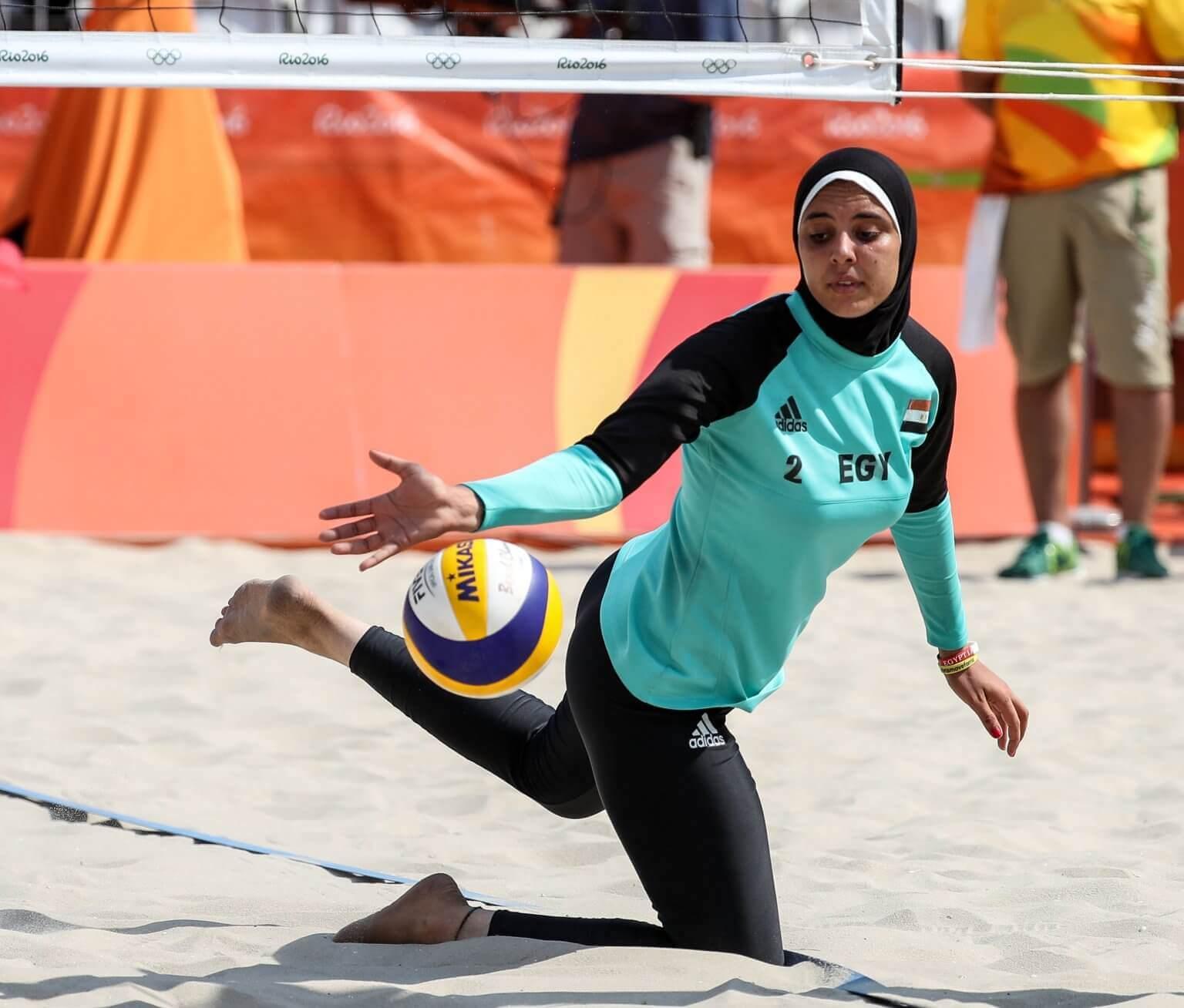 Muslim beach volleyball player
