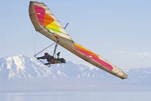 Hang gliding in the mountains.