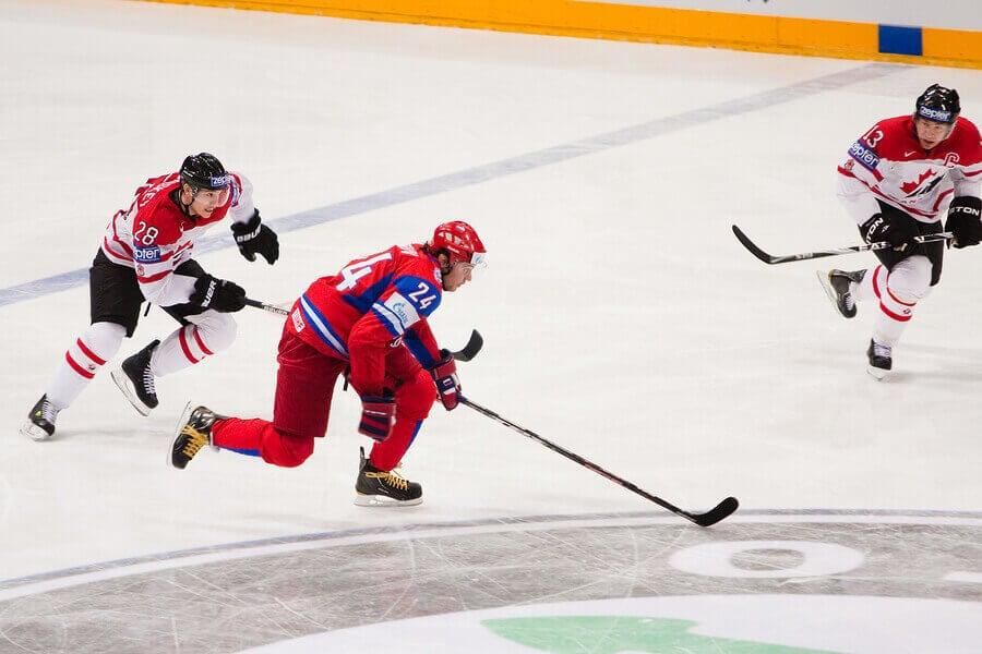 An ice hockey game.