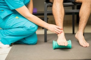 Myofascial release on the ankle.