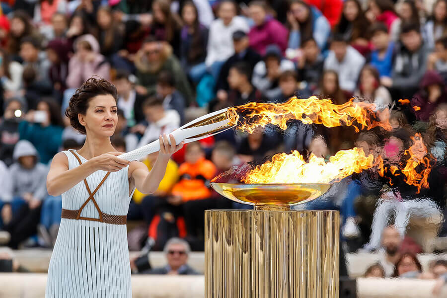 The lighting of the Olympic torch.