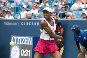 Venus Williams swinging her racket.