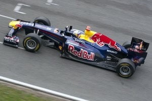 A Red Bull Formula One car in a race.