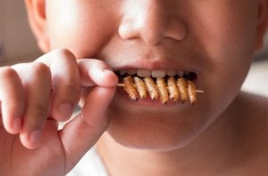 A boy eating insects.