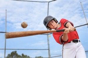 A child playing baseball.