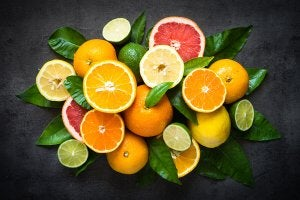 A collection of slices of citrus fruit.