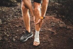 A man walking with shin splints.