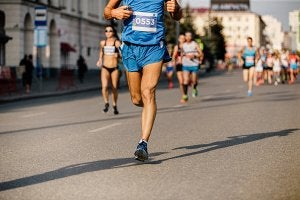 A shot of some runners in a marathon.