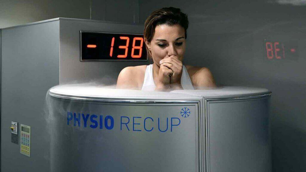 A woman doing cryotherapy.