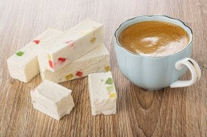 Turron and coffee are a delicious summer dessert.
