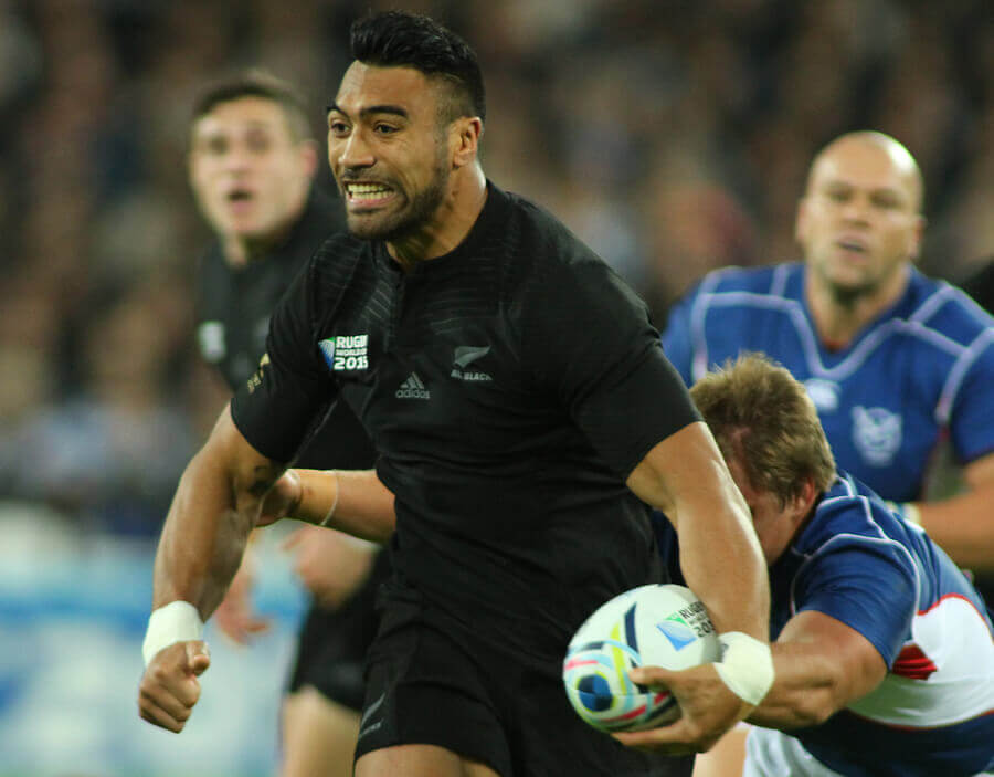 A member of the All Blacks team screaming during a Rugby World Cup match