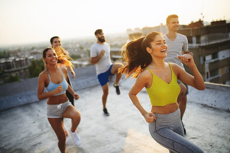 A group of people working out together to combat anxiety and depression