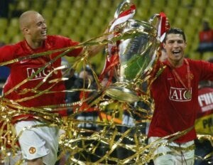Manchester United winning a cup.