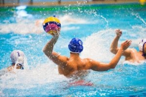 Players in a water polo match.