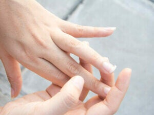 A broken nail from an iron deficiency.