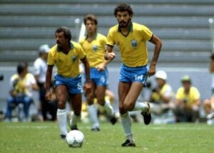Socrates playing for Brazil.