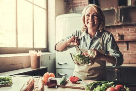 An older woman trying to eat more vegetables and increase her protein intake