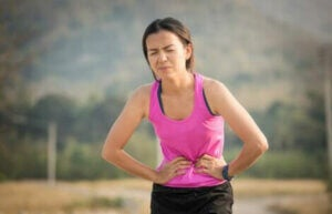 A jogger with stomach pain.