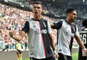 Ronaldo playing for Juventus.