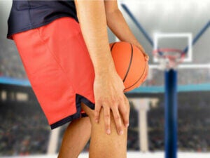 A basketball player with patellar tendonitis.