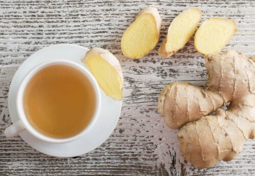 A cup of ginger tea.