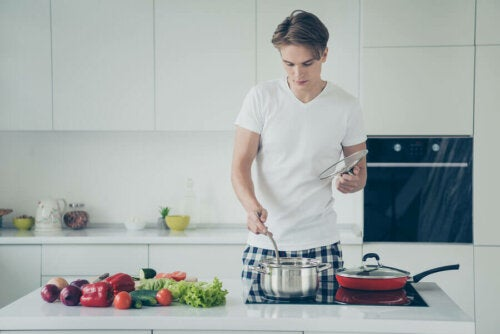 A man cooking healthy foods.