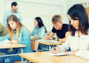 High school students working in class.