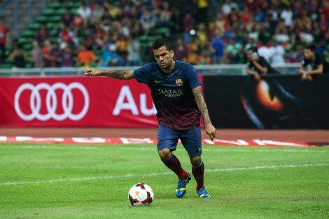 Alves playing for Barcelona