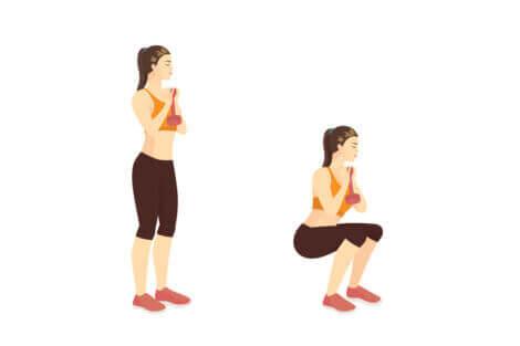 Illustration on how to do a goblet squat.