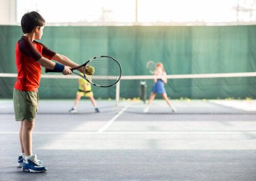 Children playing tennis.