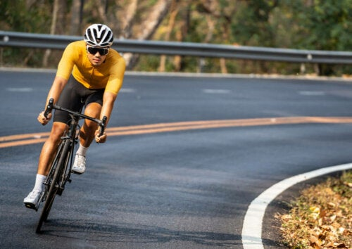 A man practicing road cycling.