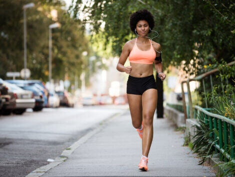 A woman running in the city.