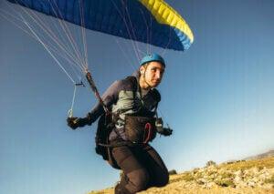 A man paragliding.