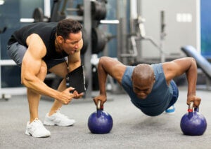 Pushups with personal trainer