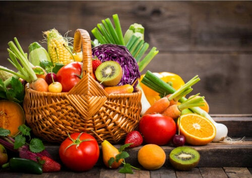 A basket full of fruits and veggies.