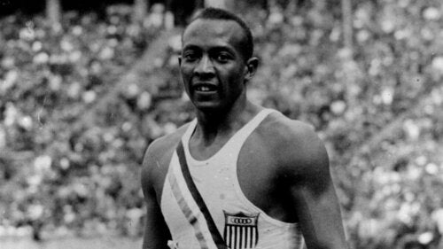 Jesse Owens at the Olympics.