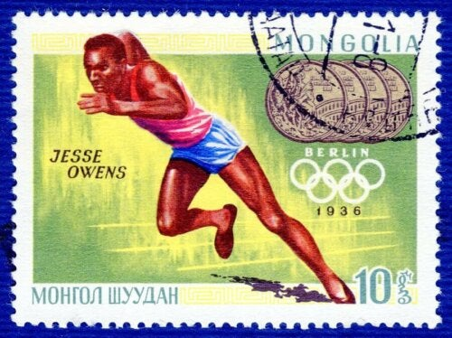 A stamp of Jesse Owens.