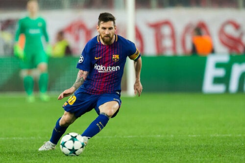 Lionel messi playing for Barcelona.