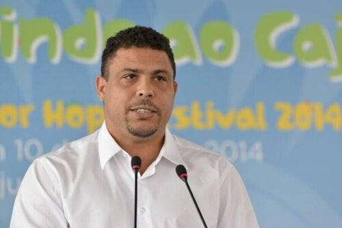 Ronaldo at a press conference.