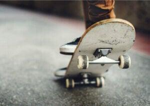 A person skateboarding.