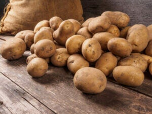 A pile of potatoes, which are good to include in an astringent diet.
