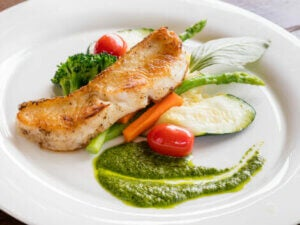 Chicken and vegetables on a plate.