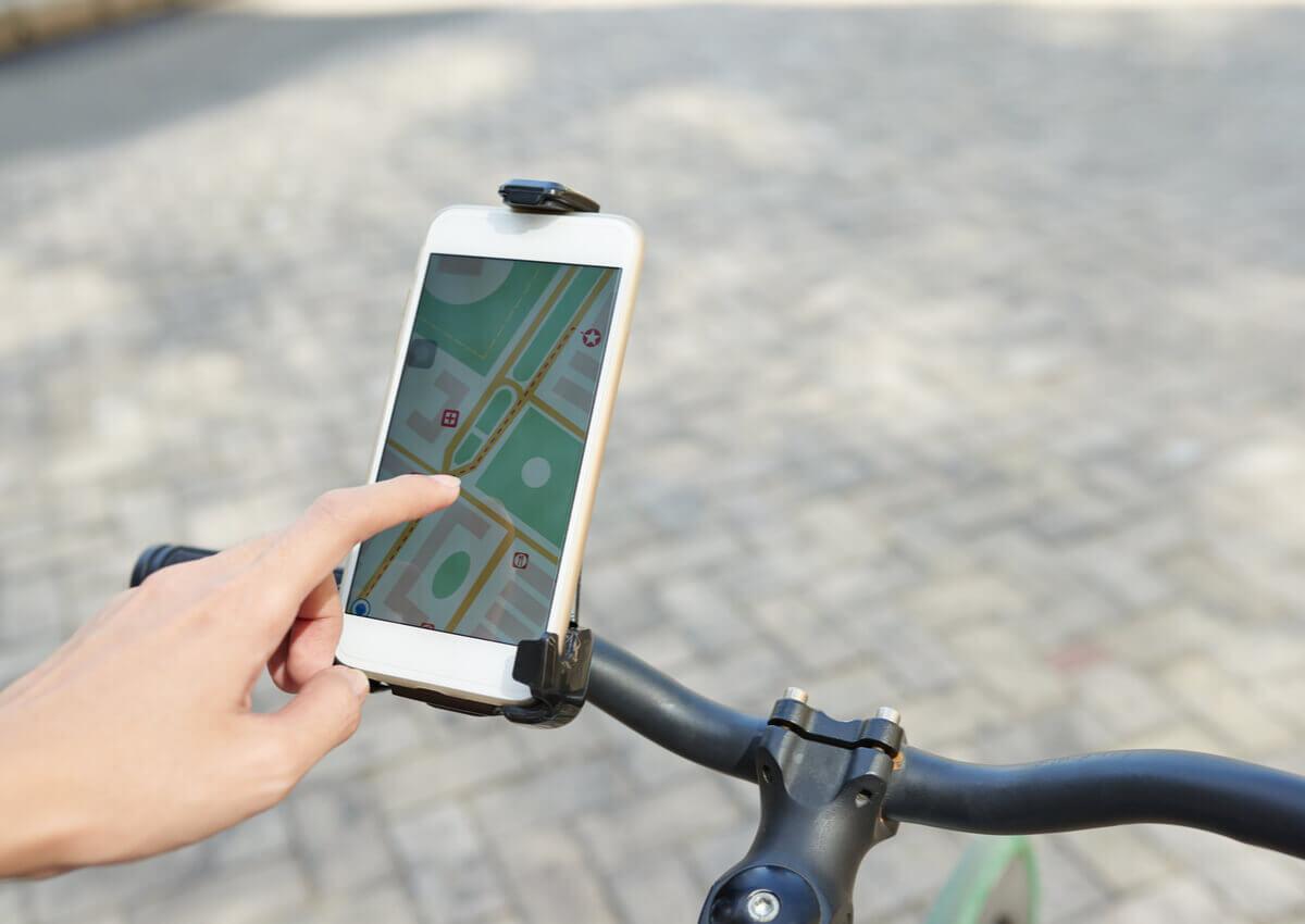 A cyclist using an app.