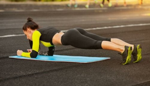 A woman doing a plank.