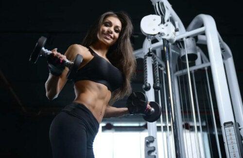 A woman gaining muscle mass.
