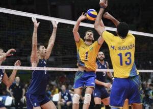 An indoor volleyball match.